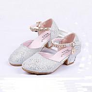 billige -0.6-Jente sko Glitter Vår Sommer Høst Komfort Høye hæler Krystall Sløyfe Paljett Imitasjonsperle Hekte til Bryllup Avslappet Formell Rosa