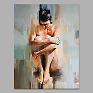 cheap Oil Paintings-Hand-Painted Abstract People Vertical, European Style Modern Canvas Oil Painting Home Decoration One Panel