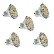 1.5W GU4(MR11) Lâmpadas de Foco de LED MR11 12 leds SMD 5730 Decorativa Branco Quente 130-150lm 2800-3200K DC 12V
