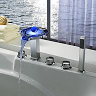 コンテンポラリー アーティスティック 組み合わせ式 滝状吐水タイプ RGB 変色 LEDライト with  セラミックバルブ 3つのハンドル5つの穴 for  クロム , 浴槽用水栓