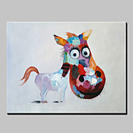 Hand-Painted Abstract Lovely Animal Modern Burro Oil Painting , Canvas One Panel Ready to Hang