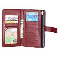 billiga Mobil cases & Skärmskydd-fodral Till Sony Z5 / Sony Xperia Z3 / Sony Xperia M4 Aqua Xperia Z5 / Xperia Z3 / Sony-fodral Plånbok / Korthållare / med stativ Fodral Enfärgad Hårt PU läder för Sony Xperia Z3 / Sony Xperia Z5