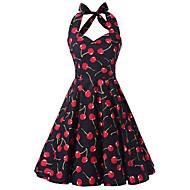女性用 お出かけ ヴィンテージ コットン Aライン ドレス - プリント, 果物 膝丈 ホルター チェリー