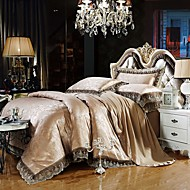 Gray Gold  Bedding Set Queen King Size Luxury Silk Cotton Blend Lace Duvet Cover Sets Jacquard Pattern