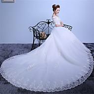 rochie cu bile off-the-shoulder catedra de dantela dantelă satin rochie de mireasa cu dantelă de mireasă brodate