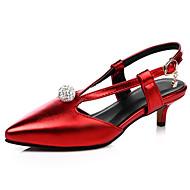 tanie Small Size Shoes-Damskie Dla dziewczynek Obuwie Derma Zima Wiosna Lato Jesień Niski obcas Brokat Klamra Z dziurką na Casual Formalne spotkania Impreza /