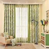 Anéis Duplo Plissado Único Plissado Dois Painéis Tratamento janela Designer Regional Rococó Europeu , Retalhos Natureza e Paisagem Sala