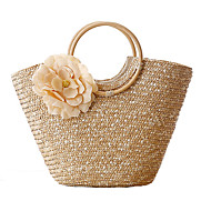 cheap Bags-Women's Bags Straw Tote Charm Flower for Shopping Casual Outdoor All Seasons Beige Yellow Fuchsia Deep Green