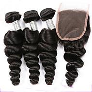 Недорогие -Волосы Уток с закрытием Перуанские волосы Волнистый волосы ткет
