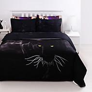 3D (Zufallsmuster) Bettbezug-Sets 4 Stück Polyester 3D Reaktivdruck Polyester ca. 1,50 m breites Doppelbett4-teilig (1 Bettbezug, 1