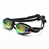 billiga Swim Goggles-Simglasögon Justerbar storlek Anti-halk band PU PC Svart Svart