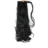24 inch Black Clip In Wavy Curly Ponytails Wrap Around Synthetic Hair Piece Hair Extension