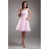 A-Line One Shoulder Knee Length Lace Over Tulle Cocktail Party / Prom Dress with Lace Insert by TS Couture® / See Through