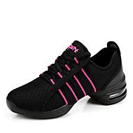 Women's Dance Sneakers Synthetic Sneaker Practice Performance Lace-up Chunky Heel Black White Red Non Customizable
