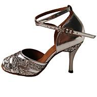 baratos Sapatilhas de Dança-Mulheres Sapatos de Dança Latina Couro Sandália / Salto Lantejoulas Salto Agulha Não Personalizável Sapatos de Dança Prateado / Púrpura / Azul Real / Interior
