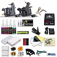 billige Tatoveringssett for nybegynnere-DRAGONHAWK Tattoo Machine Startkit, 2 pcs tattoo maskiner med 4 x 5 ml tatovering blekk - 2 x støpejern tatoveringsmaskin til lining og