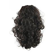 Tmavá kaštanová Šňůrky Kudrny Culíky a copy Syntetické Hair kus Prodlužování vlasů