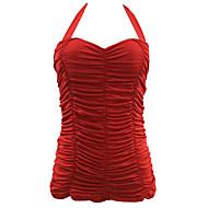 Γυναικεία Μονόχρωμο / Κορδόνια Λευκό Μαύρο Κόκκινο Ένα κομμάτι Μαγιό - Μονόχρωμο XL XXL XXXL