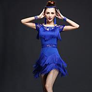 Latin Dansı Elbiseler Kadın's Performans Naylon / ChinIon Dantel / Püsküllü Kısa Kol Yüksek Elbise