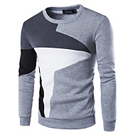 cheap Men's hoodies-Men's Active Long Sleeve Sweatshirt - Color Block Patchwork Round Neck Black L / Fall / Winter