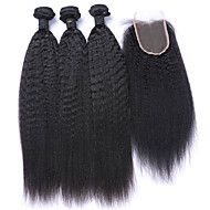 4pcs/lot Mongolian Virgin Hair Kinky Straight Lace Closure With Coarse Italian Yaki Weft With Closure Human Hair Weaves