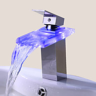 Bathroom Sink Faucet Single Handle faucet Color Changing LED Waterfall(Chrome Finish)