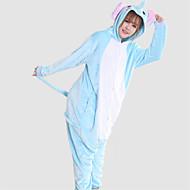 Kigurumi Pyžama Slon Kostýmový overal Pyžama Kostým Coral Fleece Modrá Cosplay Pro Dospělé Animal Sleepwear Karikatura Halloween Festival