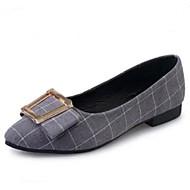 hesapli -bayan ayakkabıları kumaş kafesli konfor / sivri burun daire ofis& kariyer / rahat alçak topuklu siyah / gri
