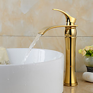 cheap Ti-PVD Series-Contemporary Widespread Waterfall Ceramic Valve One Hole Single Handle One Hole Ti-PVD, Bathroom Sink Faucet
