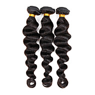 "3 stk / lot 8 ""-26"" jomfru indian weft hair extensions farge 1b # løse bølgen human hair bunter 300g"