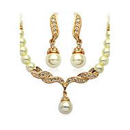 Damen Schmuck-Set - Künstliche Perle damas, Grundlegend, Künstliche Perle, Brautkleidung Einschließen Golden Für Hochzeit Party Alltag Normal / Ohrringe / Halsketten