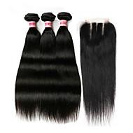 Braziliaans haar Haar Weft met Sluiting Recht  Haarextensions 4-delig Natuurlijke Kleur