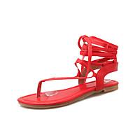 tanie Small Size Shoes-Damskie / Dla dziewczynek Derma Wiosna / Lato / Jesień Gladiatorki Płaski obcas Sznurowane / Z dziurką Czarny / Beżowy / Czerwony