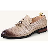 baratos Sapatos Masculinos-Homens Sapatos Materiais Customizados Primavera / Verão / Outono Conforto Salto Robusto Pregueado Preto / Bege / Marron / Festas & Noite