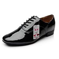 billige Men's Dance Shoes-Herre Moderne sko Kunstlær Høye hæler Snøring Tykk hæl Kan ikke spesialtilpasses Dansesko Svart / Hvit / Ytelse