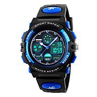 SKMEI ילדים שעוני ספורט קווארץ LED לוח שנה כרונוגרף עמיד במים אזור זמן כפול אזעקה שעון עצר זוהר בחושך PU להקה מגניב שחור
