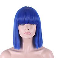 Syntetické paruky Volný / Yaki Modrá Střih Bob / S ofinou Umělé vlasy Dámské Přírodní vlasová linie Modrá Paruka Poloviční délka Bez krytky