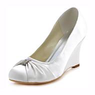 Women's Wedge Heels Stretch Satin Spring / Fall Heels Wedge Heel Crystal Dark Blue / Ivory / Wedding / Party & Evening / Dress / 3-4 / Party & Evening