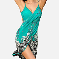 Women's Strap Green Wrap Cover-Up Swimwear - Floral Backless Print One-Size Green
