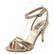 tanie Small Size Shoes-Damskie Skóra patentowa Lato Szpilka Klamra Srebrny / Czerwony / Złota / Impreza / bankiet / Impreza / bankiet