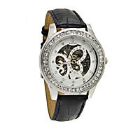 WINNER Dámské mechanické hodinky Mechanické manuální natahování Kapela Třpyt Černá Bílá Černá