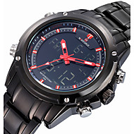 cheap Sport Watches-NAVIFORCE Men's Sport Watch Quartz 30 m Water Resistant / Water Proof Alarm Calendar / date / day Stainless Steel Band Analog-Digital Luxury Black - Yellow Red Blue Two Years Battery Life / Luminous
