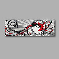 "Stretched (Ready to hang) Hand-Painted Oil Painting 48""x16"" Canvas Wall Art Modern Abstract Grey Red Black"