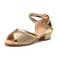 cheap Latin Shoes-Children's Latin Sparkling Glitter Paillette Heel Indoor Practice Sparkling Glitter Flat Heel Silver Red Golden Customizable
