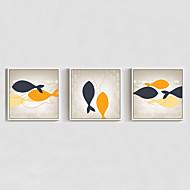 baratos Quadros com Moldura-Pinturas a Óleo Emolduradas Abstrato Animais Desenho Animado Arte de Parede, Poliestireno Material com frame Decoração para casa Arte