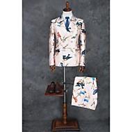 Rose Motif Coupe Slim Polyester Costume - Cranté Fin Croisé 2 boutons / Motif / Impression