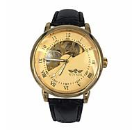 WINNER גברים שעון יד שעון מכני אוטומטי נמתח לבד חריתה חלולה עור להקה יוקרתי שחור זהב