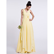 Sheath / Column V Neck Floor Length Chiffon Bridesmaid Dress with Side Draping / Criss Cross / Flower by LAN TING BRIDE®