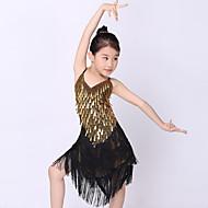 Χαμηλού Κόστους -Λάτιν Χοροί Σύνολα Επίδοση Πολυεστέρας / Μέταλλο Πούλιες / Φούντα Αμάνικο Φυσικό Φόρεμα / Λατινικοί Χοροί