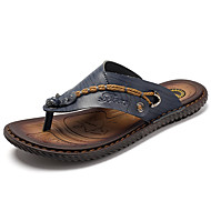 cheap Men's Slippers & Flip-Flops-Men's Shoes Cowhide Spring / Summer / Fall Comfort Slippers & Flip-Flops Dark Blue / Brown